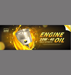 Engine oil advertisement web banner vector