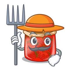 Farmer character homemade strawberry marmalade in vector