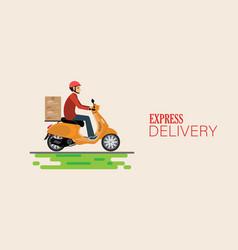 Fast delivery man ride bike get order vector