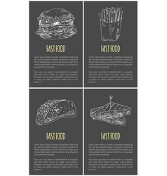 Fast food sketches poster vector