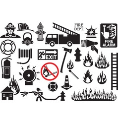 Fire Fighter Icon Set vector