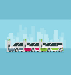 flat future cars charging vector image