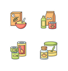 Food items rgb color icons set vector