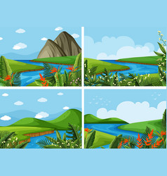 four scenes of river and field vector image