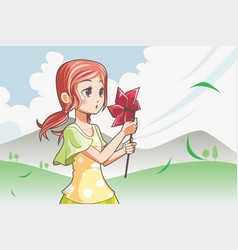 Girl blowing pinwheel vector