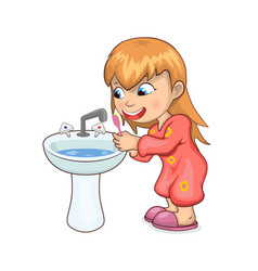 girl brushing teeth happily vector image