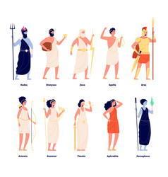 Greek gods mythology goddess collection cartoon vector