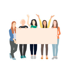 group young women holding blank banner vector image