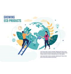 Growing eco products healthy food metaphor poster vector
