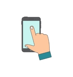 Hand touching blank screen vector