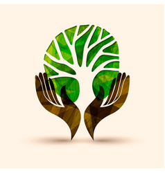 Hand tree green nature people help vector