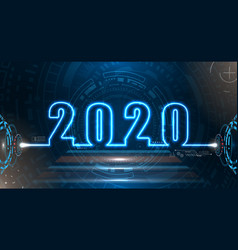 happy new 2020 year futuristic neon background vector image