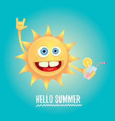 Hello summer rock n roll label or logo vector