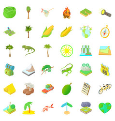 hiking nature icons set cartoon style vector image
