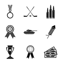 honorary badge icons set simple style vector image