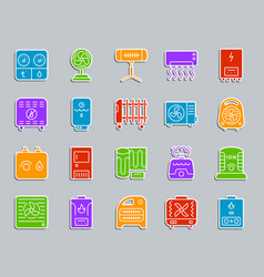Hvac patch sticker icons set vector