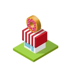 Isometric store donuts shop vector image