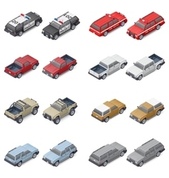 Isometric SUVs pickup trucks and service vector image