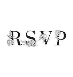 lettering rsvp inscription for wedding vector image