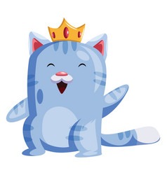 light blue cat with a golden crown smiling and vector image