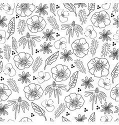 line flowers -monochromatic flowers pattern vector image