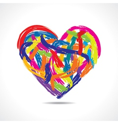 Love concept-colorful heart with paint strokes vector image