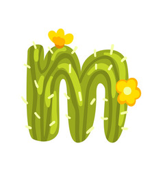 m letter in the form of cactus with blooming vector image