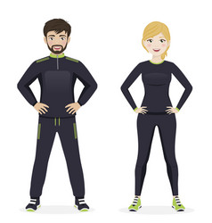 Man and woman playing sport with black sportswear vector