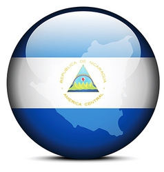Map on flag button of Republic Nicaragua vector