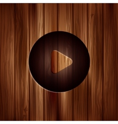 Media play icon start symbol wooden texture vector