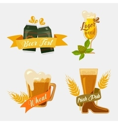 Metal beer cans and glassware mugs with foam vector