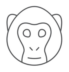monkey thin line icon animal and zoo vector image