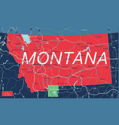 montana state detailed editable map vector image