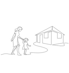 mother and daughter walking together one line vector image