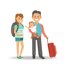 mother with backpack and father with son and vector image