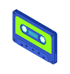 musical retro vintage audio cassette isometric 3d vector image