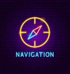 Navigation neon label vector