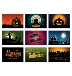 Nine creepy Halloween greeting card party vector image