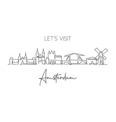 one single line drawing amsterdam city skyline vector image