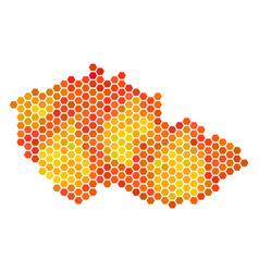 Orange hexagon czech map vector