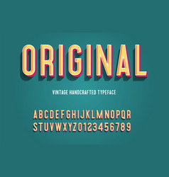 original vintage handcrafted 3d alphabet vector image