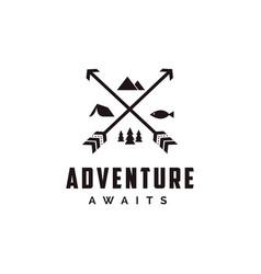 Outdoor adventure archer hunter travel badge logo vector