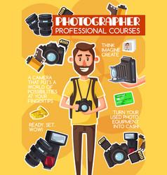 Photographer professional courses school poster vector
