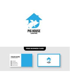 Pig farm logo design template free business crad vector