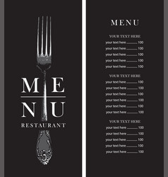 Restaurant menu with price list and realistic fork vector