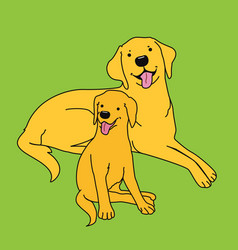 Retriever dogs big and small vector