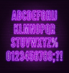 retro purple neon alphabet with numbers on brick vector image
