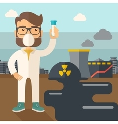 Scientist with mask and test tube vector image