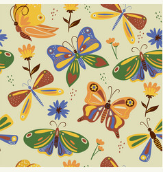 Seamless pattern with butterflies graphics vector