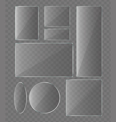 set glass plates on vector image